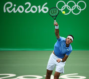 Grand Slam champion Juan Martin Del Potro of Argentina in action during his quarterfinal match of the Rio 2016 Olympic Games Royalty Free Stock Photos