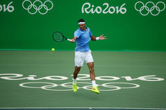 Grand Slam champion Juan Martin Del Potro of Argentina in action during his quarterfinal match of the Rio 2016 Olympic Games Stock Photos