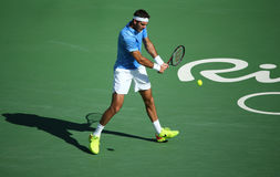 Grand Slam champion Juan Martin Del Potro of Argentina in action during his semifinal match of the Rio 2016 Olympic Games Royalty Free Stock Image