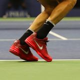 Grand Slam champion Juan Martin del Potro of Argentina wears custom Nike tennis shoes during US Open 2017 match Royalty Free Stock Image