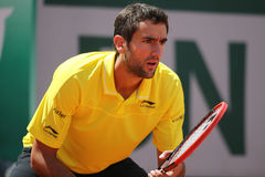 Grand Slam Champion Marin Cilic of Croatia in action during his third round match at Roland Garros 2015 Stock Photos