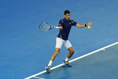 Grand Slam Champion Novak Djokovic of Serbia in action during his Australian Open 2016 semifinal match Stock Photo