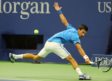 Grand Slam champion Novak Djokovic of Serbia in action during his US Open 2016 first round match Royalty Free Stock Photography