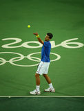 Grand Slam champion Novak Djokovic of Serbia in action during men`s singles first round match of the Rio 2016 Olympic Games Stock Photo