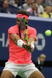 Grand Slam champion Rafael Nadal of Spain in action during his US Open 2017 first round match Stock Images