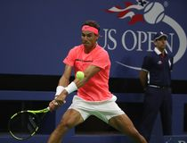 Grand Slam champion Rafael Nadal of Spain in action during his US Open 2017 first round match Royalty Free Stock Photos