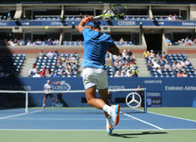 Grand Slam champion Rafael Nadal of Spain in action during US Open 2016 first round match Stock Photos