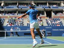 Grand Slam champion Rafael Nadal of Spain in action during US Open 2016 first round match Royalty Free Stock Images