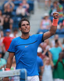 Grand Slam champion Rafael Nadal of Spain celebrates victory after US Open 2016 first round match Stock Photography