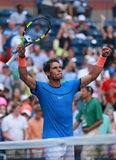 Grand Slam champion Rafael Nadal of Spain celebrates victory after US Open 2016 first round match Stock Images