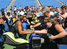 Grand Slam champion Rafael Nadal of Spain signing autographs after practice for US Open 2016 Royalty Free Stock Images