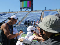 Grand Slam champion Rafael Nadal of Spain signing autographs after practice for US Open 2016 Stock Photography