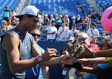 Grand Slam champion Rafael Nadal of Spain signing autographs after practice for US Open 2016 Stock Photo