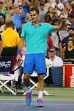 Grand Slam champion Roger Federer celebrates victory after third round match at US Open 2014 against Marcel Granollers Stock Photography