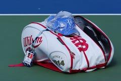 Grand Slam Champion Roger Federer customized Wilson tennis bag at US Open 2014 Stock Image