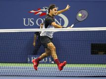Grand Slam champion Roger Federer of Switzerland in action during his US Open 2017 round 4 match stock photos
