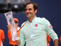 Grand Slam champion Roger Federer of Switzerland during trophy presentation after his victory at 2019 Miami Open final match. MIAMI GARDENS, FLORIDA - MARCH 31 royalty free stock image