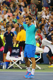 Grand Slam champion Roger Federer during third round match at US Open 2014 against Marcel Granollers Stock Photos