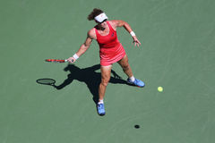 Grand Slam Champion Samantha Stosur of Australia in action during her round four match at US Open 2015. NEW YORK - SEPTEMBER 5, 2015: Grand Slam Champion Royalty Free Stock Photo