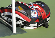 Grand Slam champion Samantha Stosur customized Babolat tennis bag at US Open 2014. NEW YORK - AUGUST 28  Grand Slam champion Samantha Stosur customized Babolat Royalty Free Stock Photos