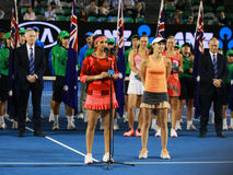 Grand Slam champion Sania Mirza of India and  Martina Hingis of Switzerland during trophy presentation after doubles final match Royalty Free Stock Photos