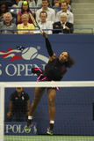 Grand Slam champion Serena Williams in action during first round match at US Open 2016 Royalty Free Stock Photo