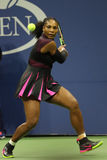 Grand Slam champion Serena Williams in action during first round match at US Open 2016 Royalty Free Stock Images