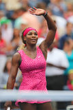 Grand Slam champion Serena Williams celebrates victory after fourth round match at US Open 2014 Royalty Free Stock Photo