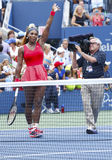 Grand Slam champion Serena Williams celebrates victory after fourth round match at US Open 2013 Stock Photo