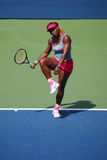 Grand Slam champion Serena Williams during quarterfinal doubles match at US Open 2014 Royalty Free Stock Photo
