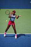 Grand Slam champion Serena Williams during quarterfinal doubles match at US Open 2014 Stock Photography