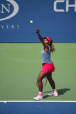 Grand Slam champion Serena Williams during quarterfinal doubles match at US Open 2014 Royalty Free Stock Image