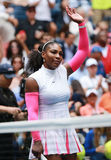 Grand Slam champion Serena Williams of United States celebrates victory after her round three match at US Open 2016 Stock Photos