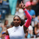 Grand Slam champion Serena Williams of United States celebrates victory after her round three match at US Open 2016 Stock Images