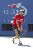 Grand Slam Champion Stanislas Wawrinka practices for US Open 2014 at Billie Jean King National Tennis Center Royalty Free Stock Images