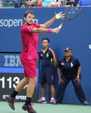 Grand Slam champion Stanislas Wawrinka of Switzerland in action during his first round match at US Open 2016 Stock Image