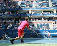 Grand Slam champion Stanislas Wawrinka of Switzerland in action during his first round match at US Open 2016 Stock Photos