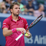 Grand Slam champion Stanislas Wawrinka of Switzerland in action during his first round match at US Open 2016 Royalty Free Stock Images