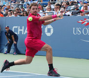 Grand Slam champion Stanislas Wawrinka of Switzerland in action during his round four match at US Open 2016 Royalty Free Stock Image