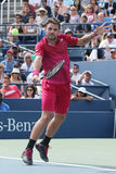 Grand Slam champion Stanislas Wawrinka of Switzerland in action during his round four match at US Open 2016 Royalty Free Stock Photography