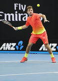 Grand Slam Champion Stanislas Wawrinka of Switzerland in action during his round 4 match at Australian Open 2016 Stock Photos