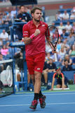 Grand Slam champion Stanislas Wawrinka of Switzerland celebrates victory after his first round match at US Open 2016 Stock Images