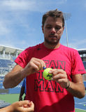 Grand Slam champion Stanislas Wawrinka of Switzerland signing autographs after practice for US Open Royalty Free Stock Image