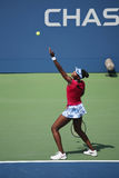 Grand Slam champion Venus Williams during quarterfinal doubles match at US Open 2014. NEW YORK - SEPTEMBER 2, 2014: Grand Slam champion Venus Williams during Stock Photos