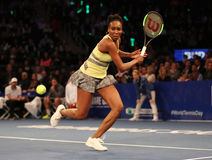 Grand Slam Champion Venus Williams of United States in action during BNP Paribas Showdown 10th Anniversary tennis event. NEW YORK - MARCH 6, 2017: Grand Slam stock photo