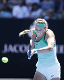 Grand Slam Champion Victoria Azarenka of Belarus in action during her round 4 match at Australian Open 2016. MELBOURNE, AUSTRALIA - JANUARY 25, 2016: Grand Slam Stock Photography