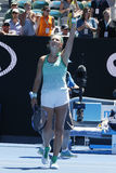 Grand Slam Champion Victoria Azarenka of Belarus celebrates victory after round 4 match at Australian Open 2016 Royalty Free Stock Photos