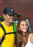 Grand Slam champions Bob Bryan with tennis fan after match at US Open 2013 Stock Images
