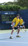 Grand Slam champions Mike and Bob Bryan during first round doubles match at US Open 2013 Royalty Free Stock Photos