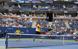 Grand Slam champions Mike and Bob Bryan during third round doubles match at US Open 2013 Stock Photography